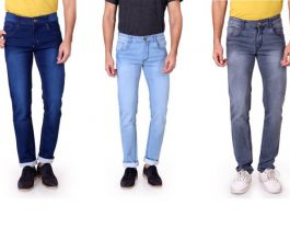 Men's Multicolor Jeans  (Pack of 3)