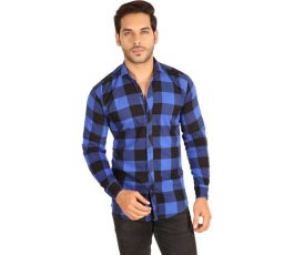Mesh Men's Checkered Casual Button Down Shirt
